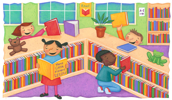 Image result for kids reading at the library